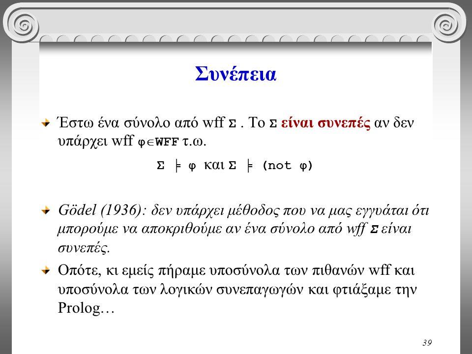 39 Συνέπεια Έστω ένα σύνολο από wff Σ. Το Σ είναι συνεπές αν δεν υπάρχει wff φ  WFF τ.ω. Σ ╞ φ και Σ ╞ (not φ) Gödel (1936): δεν υπάρχει μέθοδος που