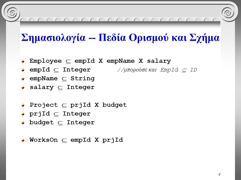 4 Σημασιολογία -- Πεδία Ορισμού και Σχήμα Employee  empId X empName X salary empId  Integer // μπορούσε και EmpId  ID empName  String salary  Integer Project  prjId X budget prjId  Integer budget  Integer WorksOn  empId X prjId