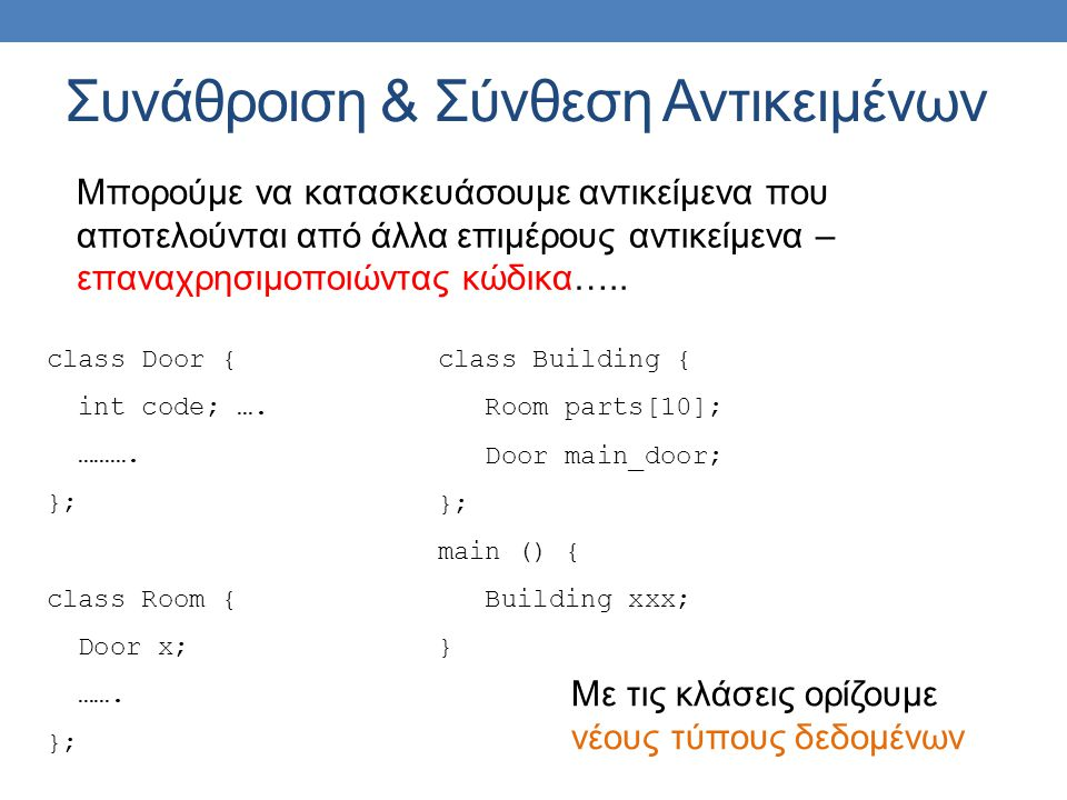 Συνάθροιση & Σύνθεση Αντικειμένων class Door { int code; …. ………. }; class Room { Door x; ……. }; class Building { Room parts[10]; Door main_door; }; ma