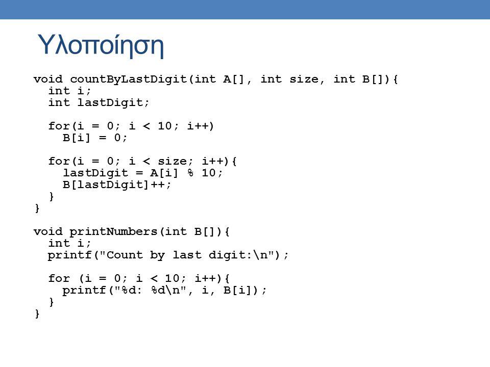 Υλοποίηση void countByLastDigit(int A[], int size, int B[]){ int i; int lastDigit; for(i = 0; i < 10; i++) B[i] = 0; for(i = 0; i < size; i++){ lastDi
