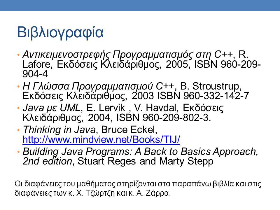 Βιβλιογραφία Αντικειμενοστρεφής Προγραμματισμός στη C++, R. Lafore, Εκδόσεις Κλειδάριθμος, 2005, ISBN 960-209- 904-4 Η Γλώσσα Προγραμματισμού C++, B.