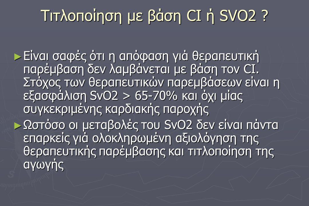 Τιτλοποίηση με βάση CI ή SVO2 .