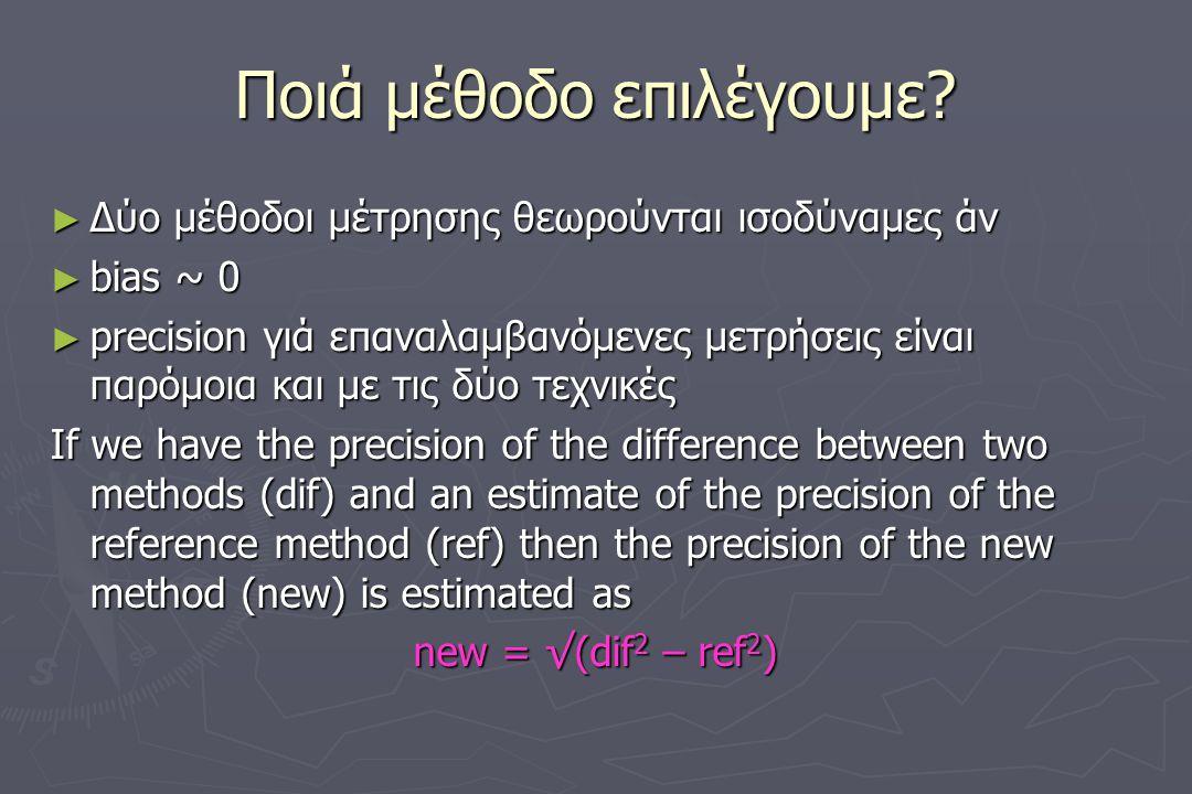 Ποιά μέθοδο επιλέγουμε? ► Δύο μέθοδοι μέτρησης θεωρούνται ισοδύναμες άν ► bias ~ 0 ► precision γιά επαναλαμβανόμενες μετρήσεις είναι παρόμοια και με τ