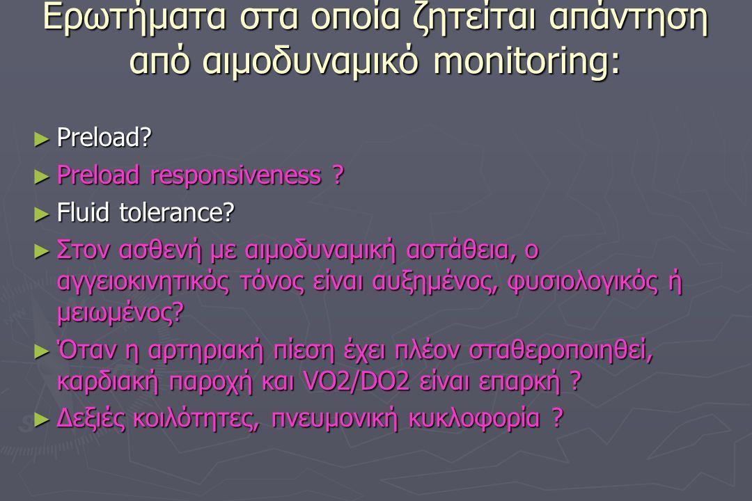 Eρωτήματα στα οποία ζητείται απάντηση από αιμοδυναμικό monitoring: ► Preload? ► Preload responsiveness ? ► Fluid tolerance? ► Στον ασθενή με αιμοδυναμ