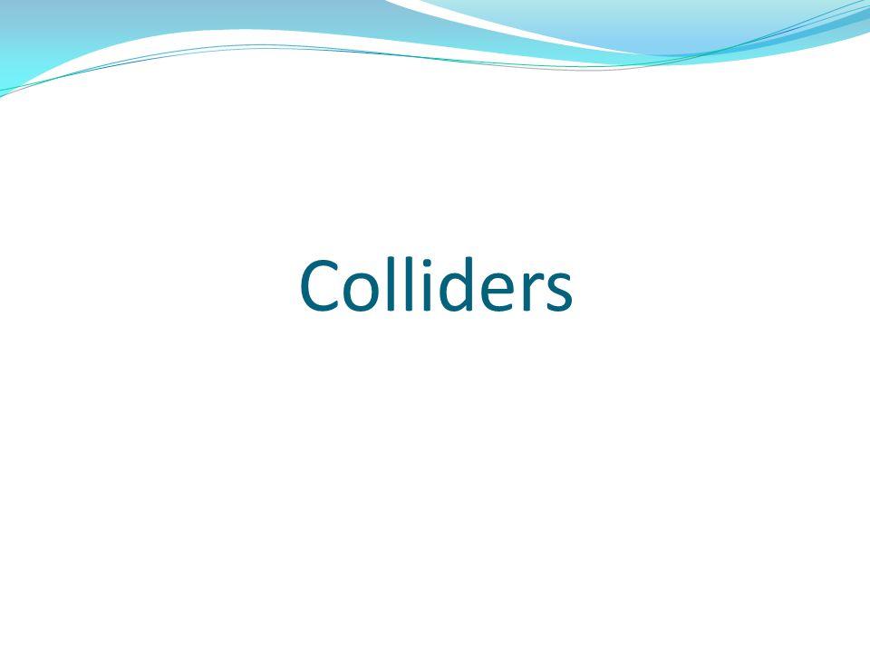 Το collider component είναι αυτό που κάνει ένα αντικείμενο να αντιδρά με βάση τους νόμους της φυσικής όταν συγκρούεται με ένα άλλο αντικείμενο αρκεί να: 1) φέρει collider component και το δεύτερο αντικείμενο.