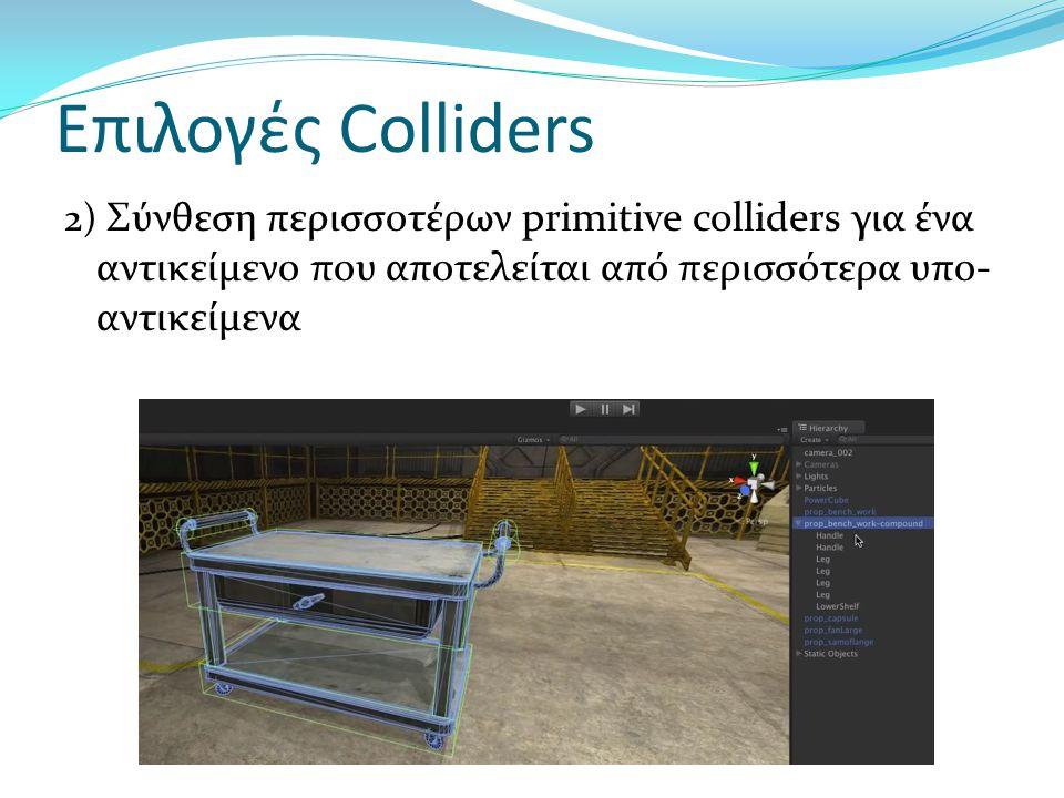 Επιλογές Colliders 3) Mesh collider σε αντικείμενο που δεν αποτελείται από υπο- αντικείμενα  Πολύ ακριβές (ακολουθεί την ακριβή γεωμετρία του αντικειμένου)  Υπερβολική λεπτομέρεια-επηρεάζει την απόδοση