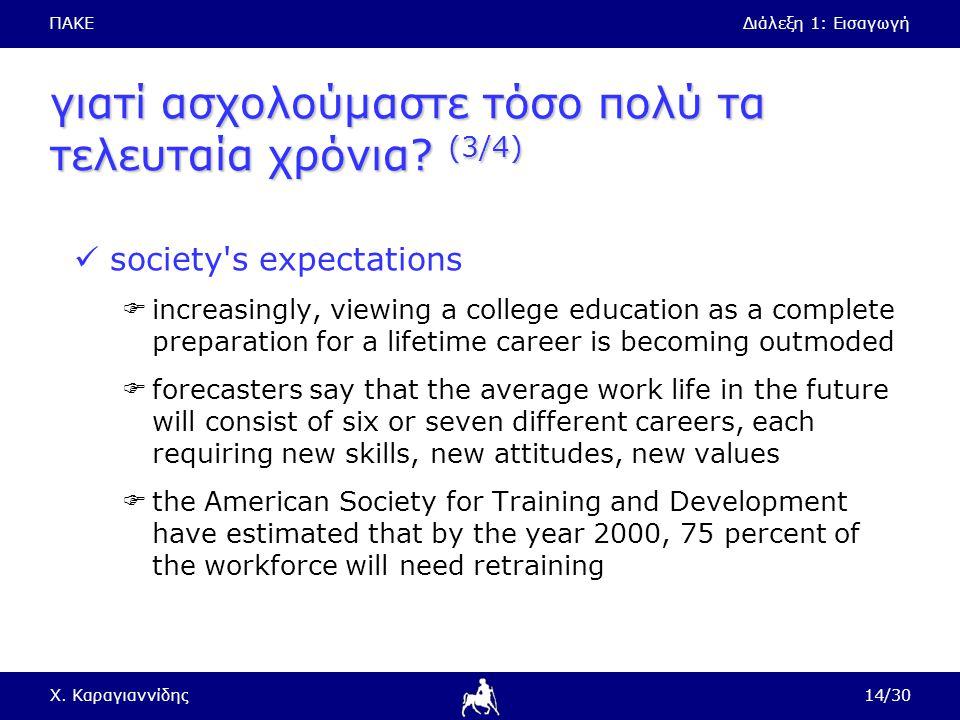 ΠΑΚΕΔιάλεξη 1: Εισαγωγή Χ. Καραγιαννίδης14/30 γιατί ασχολούμαστε τόσο πολύ τα τελευταία χρόνια? (3/4) society's expectations  increasingly, viewing a