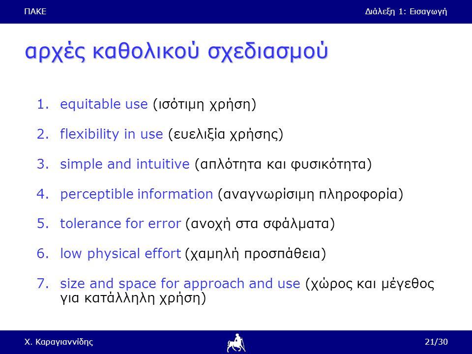 ΠΑΚΕΔιάλεξη 1: Εισαγωγή Χ. Καραγιαννίδης21/30 αρχές καθολικού σχεδιασμού 1.equitable use (ισότιμη χρήση) 2.flexibility in use (ευελιξία χρήσης) 3.simp