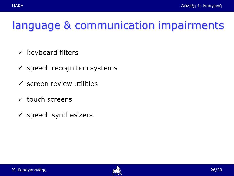 ΠΑΚΕΔιάλεξη 1: Εισαγωγή Χ. Καραγιαννίδης26/30 language & communication impairments keyboard filters speech recognition systems screen review utilities