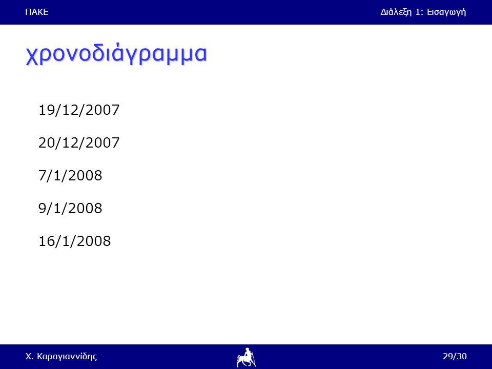 ΠΑΚΕΔιάλεξη 1: Εισαγωγή Χ. Καραγιαννίδης29/30 χρονοδιάγραμμα 19/12/2007 20/12/2007 7/1/2008 9/1/2008 16/1/2008