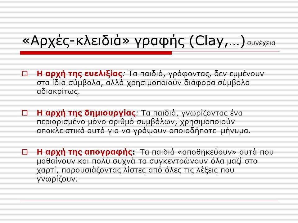 «Αρχές-κλειδιά» γραφής (Clay,…) συνέχεια  Η αρχή της ευελιξίας: Τα παιδιά, γράφοντας, δεν εμμένουν στα ίδια σύμβολα, αλλά χρησιμοποιούν διάφορα σύμβολα αδιακρίτως.