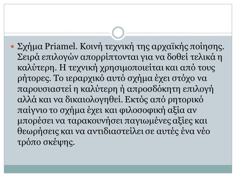 Σχήμα Priamel. Κοινή τεχνική της αρχαϊκής ποίησης. Σειρά επιλογών απορρίπτονται για να δοθεί τελικά η καλύτερη. Η τεχνική χρησιμοποιείται και από τους