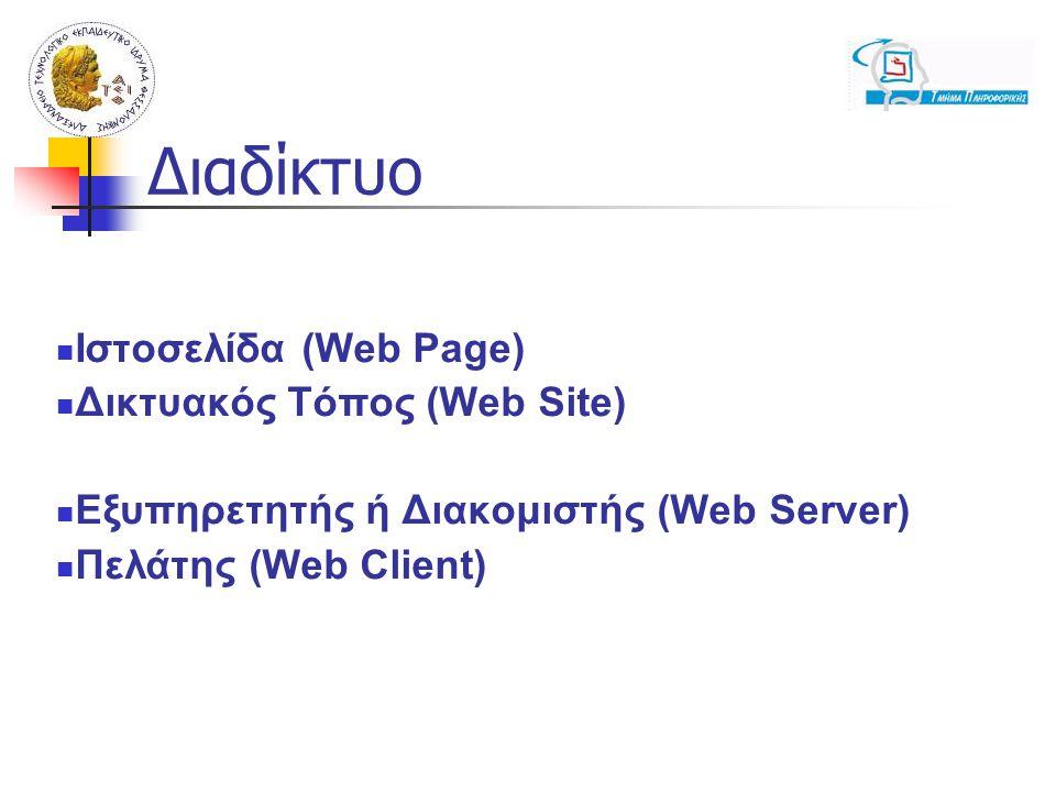 Ιστοσελίδα (Web Page) Δικτυακός Τόπος (Web Site) Εξυπηρετητής ή Διακομιστής (Web Server) Πελάτης (Web Client) Διαδίκτυο