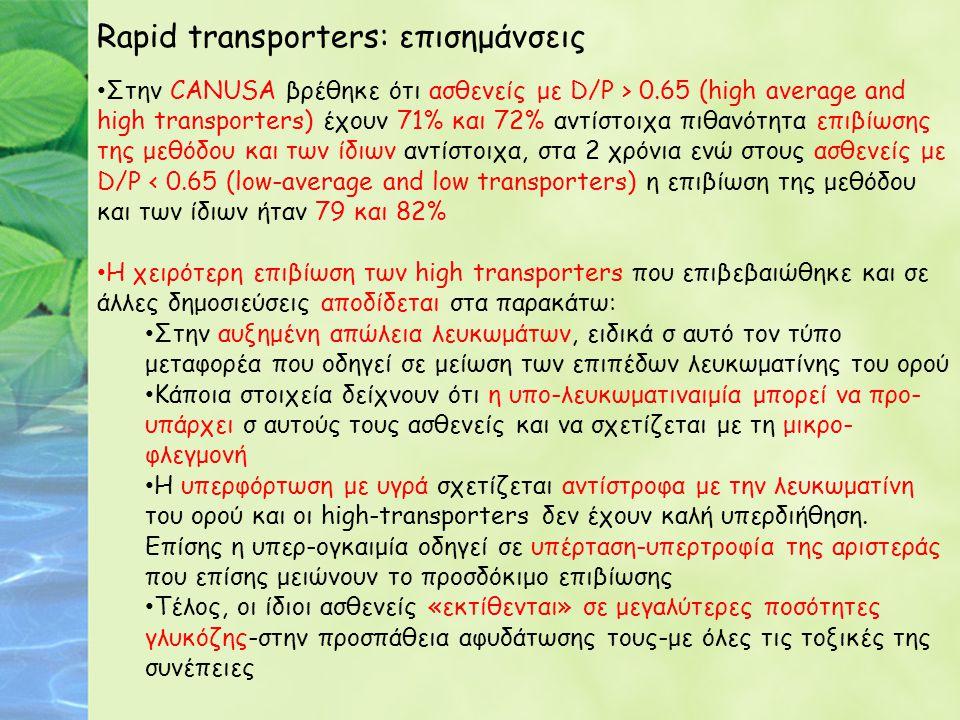 Rapid transporters: επισημάνσεις Στην CANUSA βρέθηκε ότι ασθενείς με D/P > 0.65 (high average and high transporters) έχουν 71% και 72% αντίστοιχα πιθα