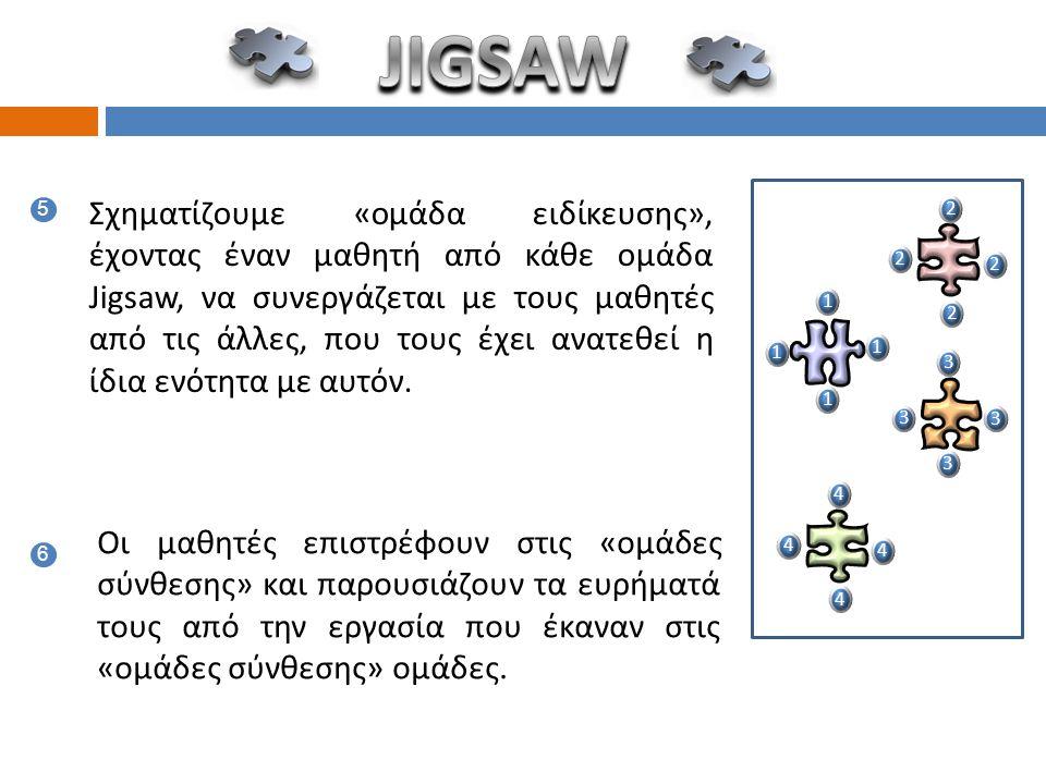 5 Σχηματίζουμε «ομάδα ειδίκευσης», έχοντας έναν μαθητή από κάθε ομάδα Jigsaw, να συνεργάζεται με τους μαθητές από τις άλλες, που τους έχει ανατεθεί η