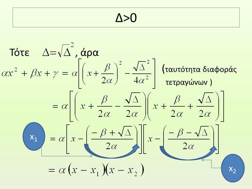 Δ>0 Τότε, άρα ( ταυτότητα διαφοράς τετραγώνων ) x1x1 x2x2