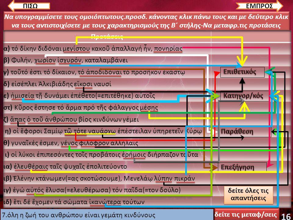 Να δηλώσετε τη σημασία των υπογραμμισμένων προσδιορ., κάνοντας κλικ πάνω τους (π.χ χρόνο ή τόπο ή εμπρόθετος προσδ. αιτίας κ.λ.)-Να μεταφραστούν οι πρ