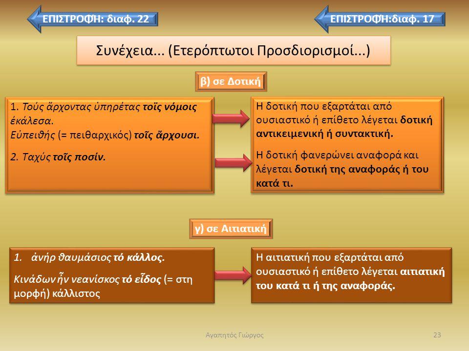 ετερόπτωτοι προσδιορισμοί 22 Οι ετερόπτωτοι προσδ. είναι ονόματα που προσδιορίζουν κάποια άλλα σε διαφορετική πτώση από αυτά και εκφέρονται με μία από