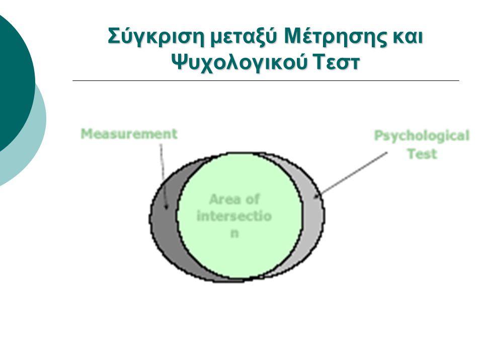 Διαφορές μεταξύ Ψυχολογικών Τεστ και Ερωτηματολόγια Επισκόπησης συλλογή σημαντικών πληροφοριών  Και τα δύο χρησιμοποιούνται για τη συλλογή σημαντικών πληροφοριών για τα άτομα ατομικές διαφορές  Τα Ψυχολογικά τεστ επικεντρώνονται στις ατομικές διαφορές ομαδικές διαφορές  Τα ερωτηματολόγια επισκόπησης επικεντρώνονται στις ομαδικές διαφορές συνολικής επίδοσης διαφοράς από μέσο όρο  Τα αποτελέσματα των ψυχολογικών τεστ παρουσιάζονται στο επίπεδο της συνολικής επίδοσης και διαφοράς από μέσο όρο επίπεδο ερώτησηςποσοστά  Τα αποτελέσματα από τα ερωτηματολόγια επισκόπησης παρουσιάζονται σε επίπεδο ερώτησης και σε ποσοστά των ατόμων που επέλεξαν τις επιλογές της ερώτησης
