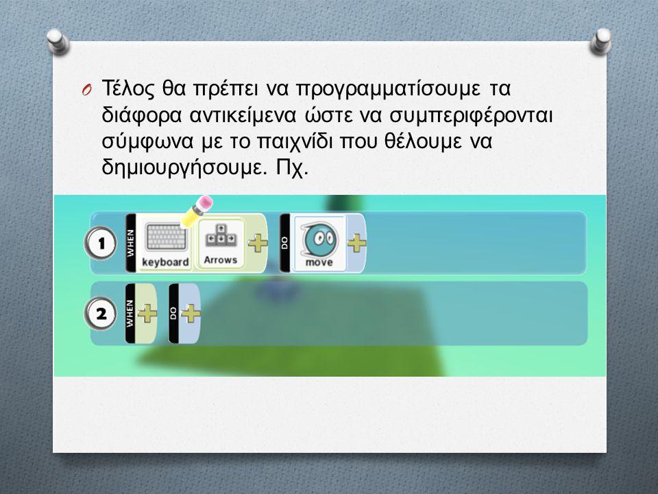 O Τέλος θα πρέπει να προγραμματίσουμε τα διάφορα αντικείμενα ώστε να συμπεριφέρονται σύμφωνα με το παιχνίδι που θέλουμε να δημιουργήσουμε. Πχ.