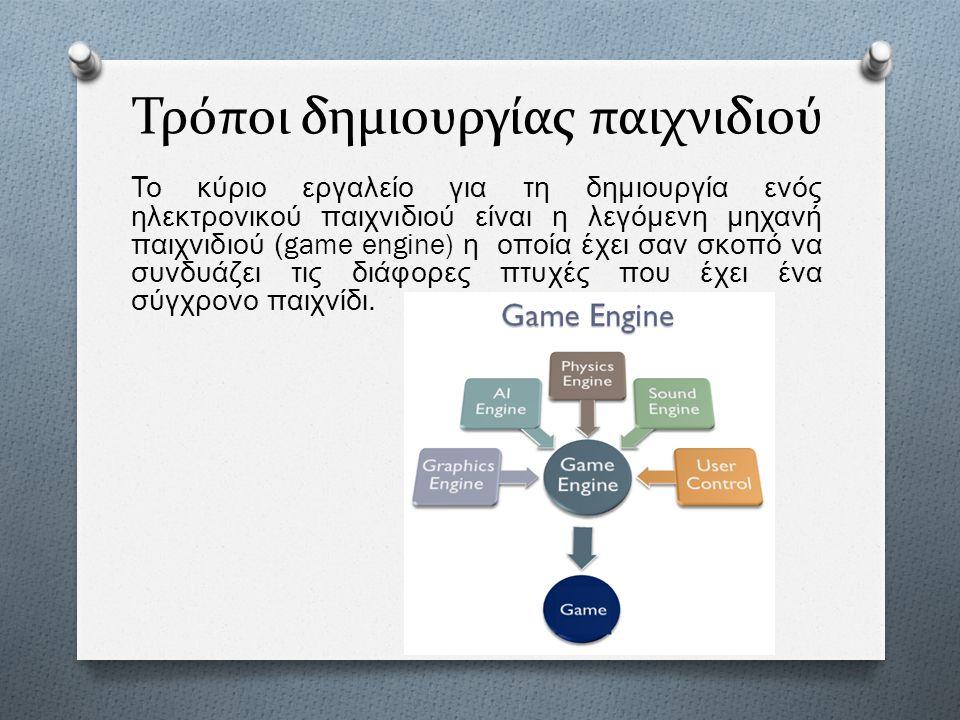 Τρόποι δημιουργίας παιχνιδιού Το κύριο εργαλείο για τη δημιουργία ενός ηλεκτρονικού παιχνιδιού είναι η λεγόμενη μηχανή παιχνιδιού (game engine) η οποί