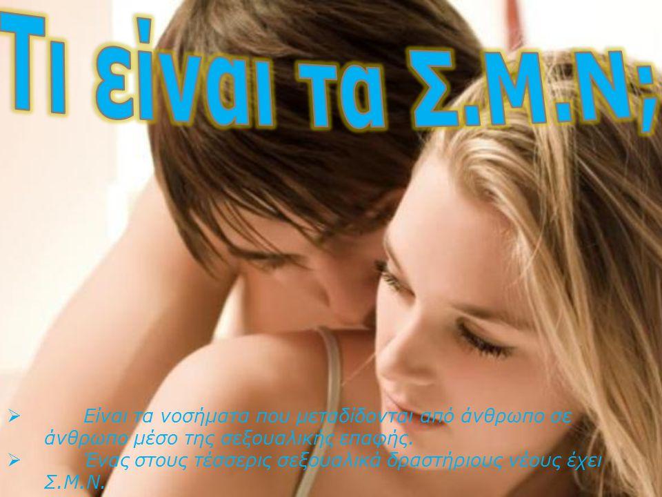  Είναι τα νοσήματα που μεταδίδονται από άνθρωπο σε άνθρωπο μέσο της σεξουαλικής επαφής.  Ένας στους τέσσερις σεξουαλικά δραστήριους νέους έχει Σ.Μ.Ν