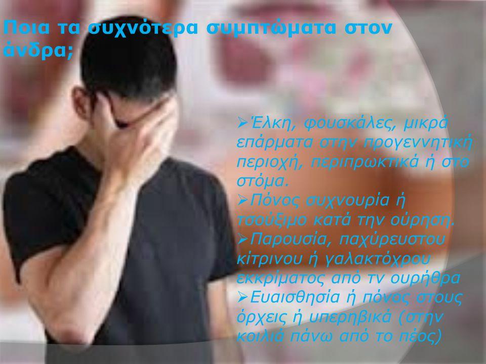 Ποια τα συχνότερα συμπτώματα στον άνδρα;  Έλκη, φουσκάλες, μικρά επάρματα στην προγεννητική περιοχή, περιπρωκτικά ή στο στόμα.  Πόνος συχνουρία ή τσ