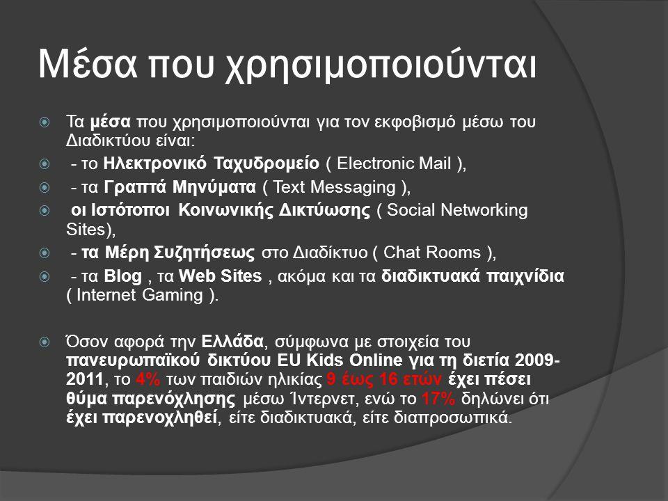 Μέσα που χρησιμοποιούνται  Τα μέσα που χρησιμοποιούνται για τον εκφοβισμό μέσω του Διαδικτύου είναι:  - το Ηλεκτρονικό Ταχυδρομείο ( Electronic Mail
