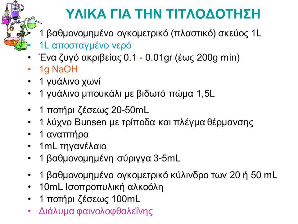 ΥΛΙΚΑ ΓΙΑ ΤΗΝ ΤΙΤΛΟΔΟΤΗΣΗ 1 βαθμονομημένο ογκομετρικό (πλαστικό) σκεύος 1L 1L αποσταγμένο νερό Ένα ζυγό ακριβείας 0.1 - 0.01gr (έως 200g min) 1g NaOH 1 γυάλινο χωνί 1 γυάλινο μπουκάλι με βιδωτό πώμα 1,5L 1 ποτήρι ζέσεως 20-50mL 1 λύχνο Bunsen με τρίποδα και πλέγμα θέρμανσης 1 αναπτήρα 1mL τηγανέλαιο 1 βαθμονομημένη σύριγγα 3-5mL 1 βαθμονομημένο ογκομετρικό κύλινδρο των 20 ή 50 mL 10mL Ισοπροπυλική αλκοόλη 1 ποτήρι ζέσεως 100mL Διάλυμα φαινολoφθαλεΐνης