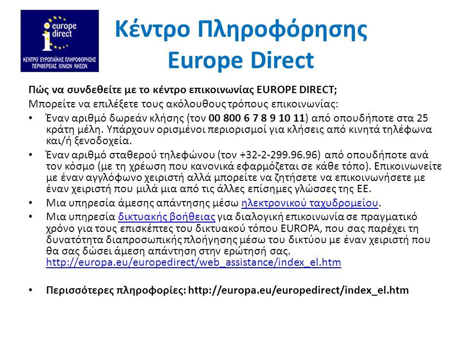 Kέντρο Πληροφόρησης Europe Direct Ιστοτόπος Europa: http://europa.euhttp://europa.eu Eures-Η Ευρωπαϊκή Πύλη για την επαγγελματική κινητικοτητα: http://ec.europa.eu/eures/main.jsp?acro=eures&lang=el&catId=1&parentId=0 http://ec.europa.eu/eures/main.jsp?acro=eures&lang=el&catId=1&parentId=0 Europass-Μάθηση & Εργασία στην Ευρώπη: http://europass.cedefop.europa.eu/el/home Πύλη Ploteus-Ευκαιρίες μάθησης & επιμόρφωσης στην Ευρώπη: http://ec.europa.eu/ploteus/home.jsp?language=el Η Ευρώπη σου-Δικαιώματα & Ευκαιρίες στην ΕΕ: http://europa.eu/youreurope/index.htm Ευρωπαϊκή Δικτυακή Πύλη για τη νεολαία: http://europa.eu/youth/ Πρόγραμμα Eurodesk-Γενική Γραμματεία Νέας Γενιάς: http://www.neagenia.gr/frontoffice/portal.asp?cpage=node&cnode=46&clang=0