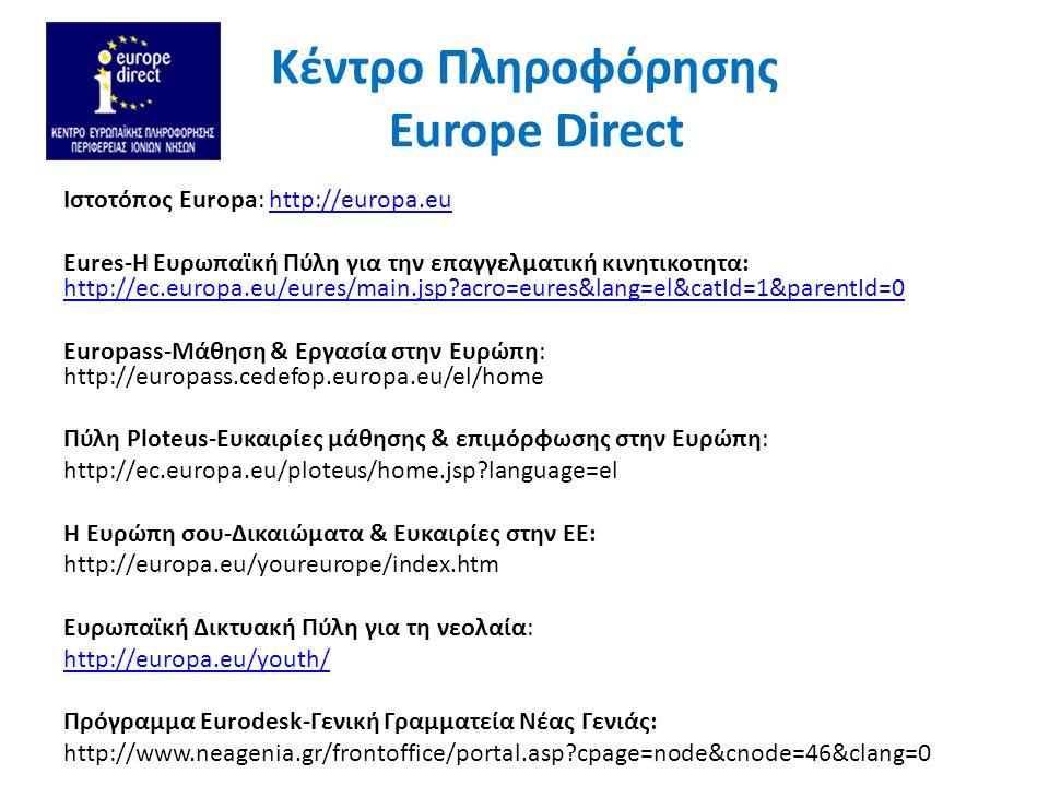 Kέντρο Πληροφόρησης Europe Direct Ιστοτόπος Europa: http://europa.euhttp://europa.eu Eures-Η Ευρωπαϊκή Πύλη για την επαγγελματική κινητικοτητα: http://ec.europa.eu/eures/main.jsp acro=eures&lang=el&catId=1&parentId=0 http://ec.europa.eu/eures/main.jsp acro=eures&lang=el&catId=1&parentId=0 Europass-Μάθηση & Εργασία στην Ευρώπη: http://europass.cedefop.europa.eu/el/home Πύλη Ploteus-Ευκαιρίες μάθησης & επιμόρφωσης στην Ευρώπη: http://ec.europa.eu/ploteus/home.jsp language=el Η Ευρώπη σου-Δικαιώματα & Ευκαιρίες στην ΕΕ: http://europa.eu/youreurope/index.htm Ευρωπαϊκή Δικτυακή Πύλη για τη νεολαία: http://europa.eu/youth/ Πρόγραμμα Eurodesk-Γενική Γραμματεία Νέας Γενιάς: http://www.neagenia.gr/frontoffice/portal.asp cpage=node&cnode=46&clang=0