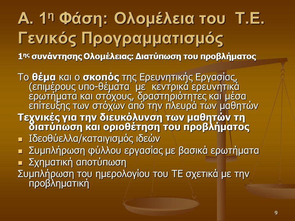 9 Α. 1 η Φάση: Ολομέλεια του Τ.Ε. Γενικός Προγραμματισμός 1 ης συνάντησης Ολομέλειας: Διατύπωση του προβλήματος Το θέμα και ο σκοπός της Ερευνητικής Ε