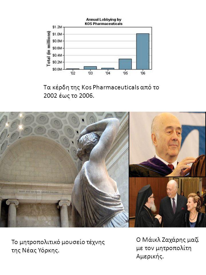 Τα κέρδη της Kos Pharmaceuticals από το 2002 έως το 2006. Το μητροπολιτικό μουσείο τέχνης της Νέας Υόρκης. Ο Μάικλ Ζαχάρης μαζί με τον μητροπολίτη Αμε