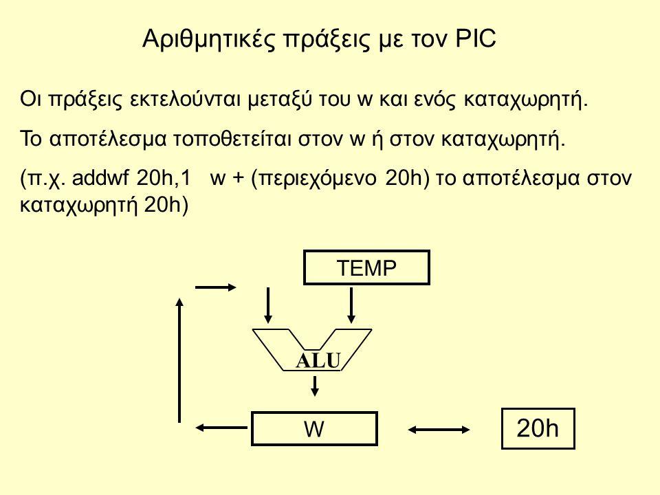 Αριθμητικές πράξεις με τον PIC Οι πράξεις εκτελούνται μεταξύ του w και ενός καταχωρητή. Το αποτέλεσμα τοποθετείται στον w ή στον καταχωρητή. (π.χ. add