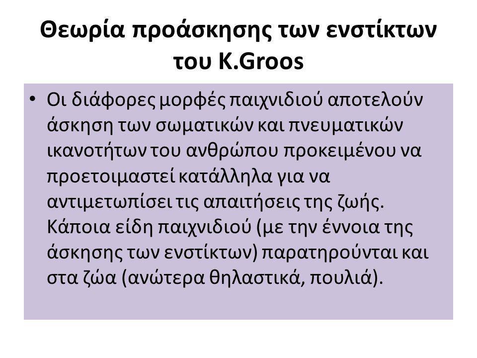 Θεωρία προάσκησης των ενστίκτων του K.Groos Οι διάφορες μορφές παιχνιδιού αποτελούν άσκηση των σωματικών και πνευματικών ικανοτήτων του ανθρώπου προκειμένου να προετοιμαστεί κατάλληλα για να αντιμετωπίσει τις απαιτήσεις της ζωής.