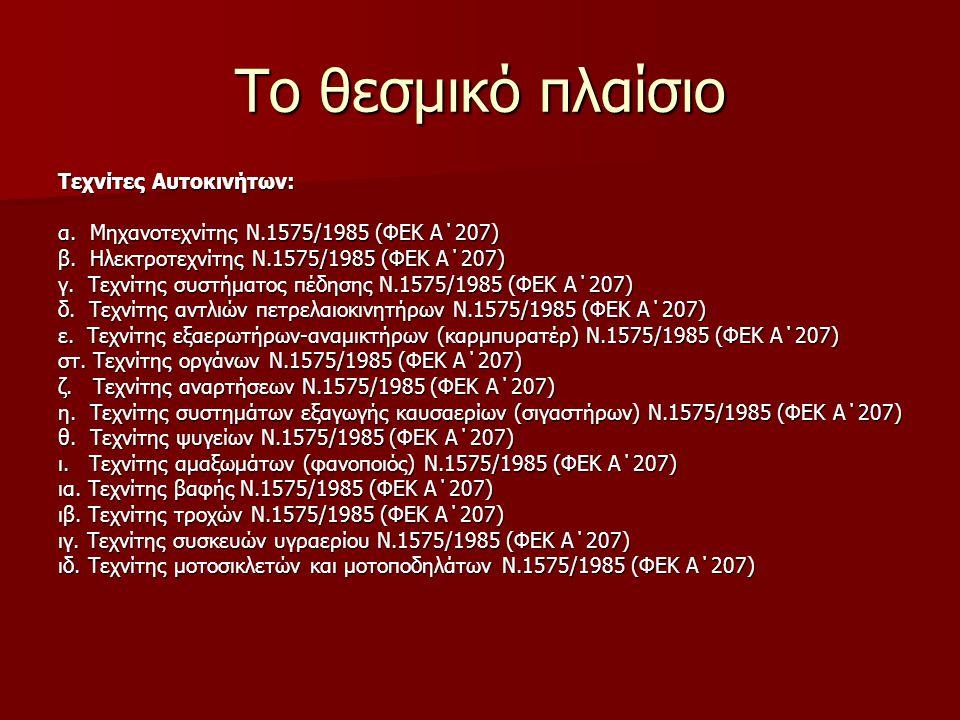 Το θεσμικό πλαίσιο Τεχνίτες Αυτοκινήτων: α. Μηχανοτεχνίτης Ν.1575/1985 (ΦΕΚ Α΄207) β. Ηλεκτροτεχνίτης Ν.1575/1985 (ΦΕΚ Α΄207) γ. Τεχνίτης συστήματος π