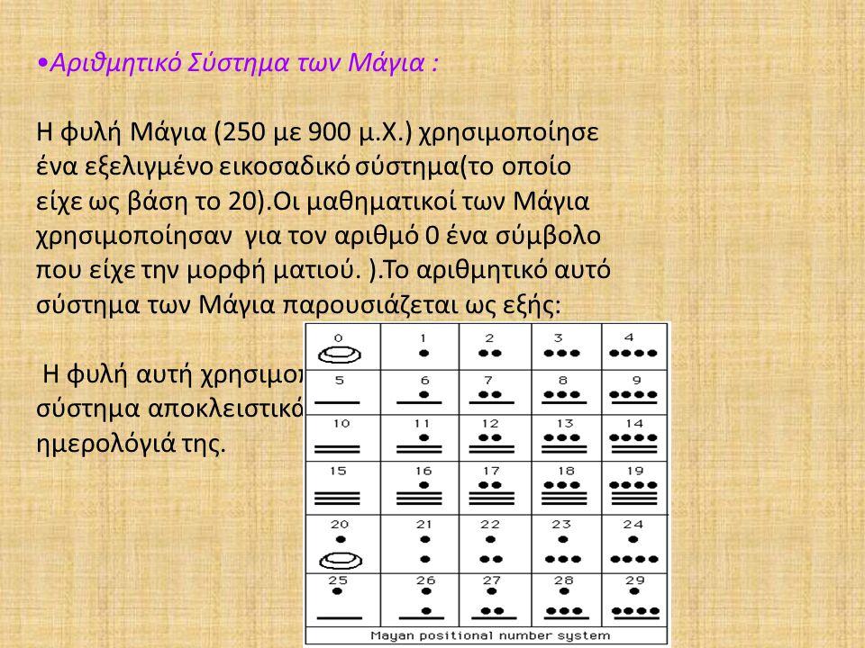 Αριθμητικό Σύστημα των Μάγια : Η φυλή Μάγια (250 με 900 μ.Χ.) χρησιμοποίησε ένα εξελιγμένο εικοσαδικό σύστημα(το οποίο είχε ως βάση το 20).Οι μαθηματι