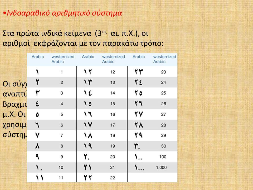 Ινδοαραβικό αριθμητικό σύστημα Στα πρώτα ινδικά κείμενα (3 ος αι. π.Χ.), οι αριθμοί εκφράζονται με τον παρακάτω τρόπο: Οι σύγχρονοι ινδοαραβικοί αριθμ