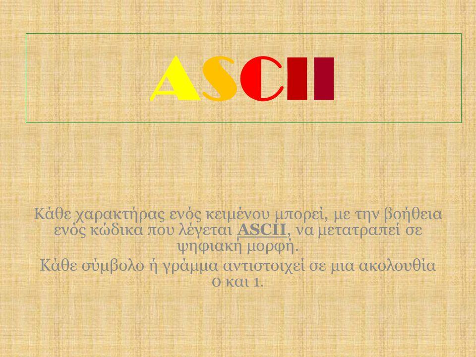 ASCIIASCII Κάθε χαρακτήρας ενός κειμένου μπορεί, με την βοήθεια ενός κώδικα που λέγεται ASCII, να μετατραπεί σε ψηφιακή μορφή. Κάθε σύμβολο ή γράμμα α