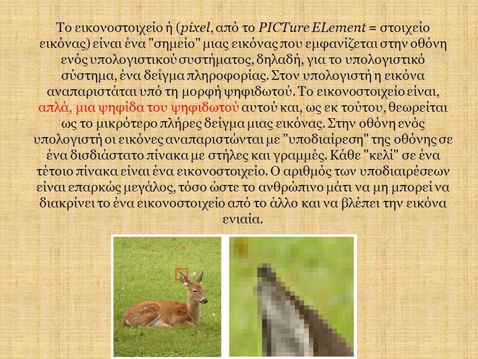 Το εικονοστοιχείο ή (pixel, από το PICTure ELement = στοιχείο εικόνας) είναι ένα