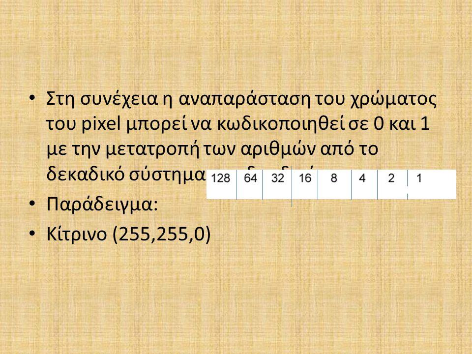Στη συνέχεια η αναπαράσταση του χρώματος του pixel μπορεί να κωδικοποιηθεί σε 0 και 1 με την μετατροπή των αριθμών από το δεκαδικό σύστημα στο δυαδικό
