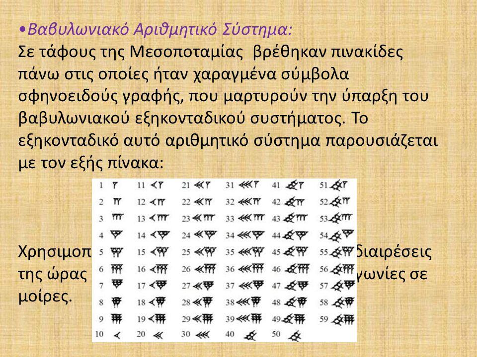 Βαβυλωνιακό Αριθμητικό Σύστημα: Σε τάφους της Μεσοποταμίας βρέθηκαν πινακίδες πάνω στις οποίες ήταν χαραγμένα σύμβολα σφηνοειδούς γραφής, που μαρτυρού