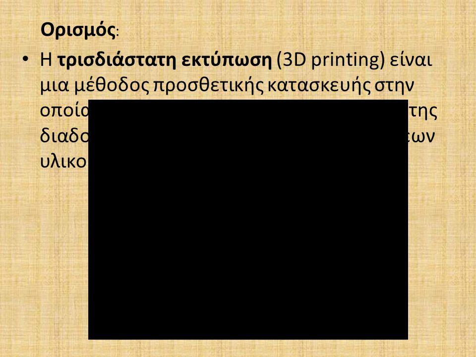 Η τρισδιάστατη εκτύπωση (3D printing) είναι μια μέθοδος προσθετικής κατασκευής στην οποία κατασκευάζονται αντικείμενα μέσω της διαδοχικής πρόσθεσης επ