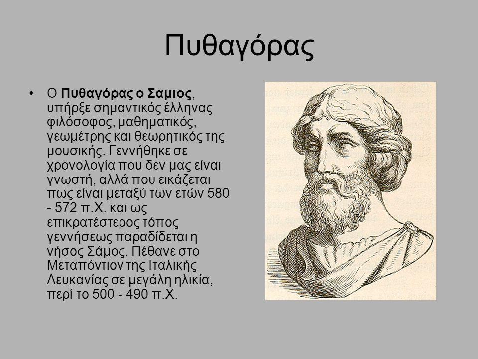Πυθαγόρας Ο Πυθαγόρας ο Σαμιος, υπήρξε σημαντικός έλληνας φιλόσοφος, μαθηματικός, γεωμέτρης και θεωρητικός της μουσικής. Γεννήθηκε σε χρονολογία που δ