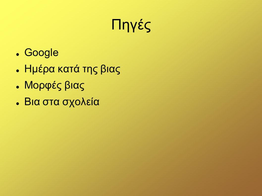 Πηγές Google Ημέρα κατά της βιας Μορφές βιας Βια στα σχολεία