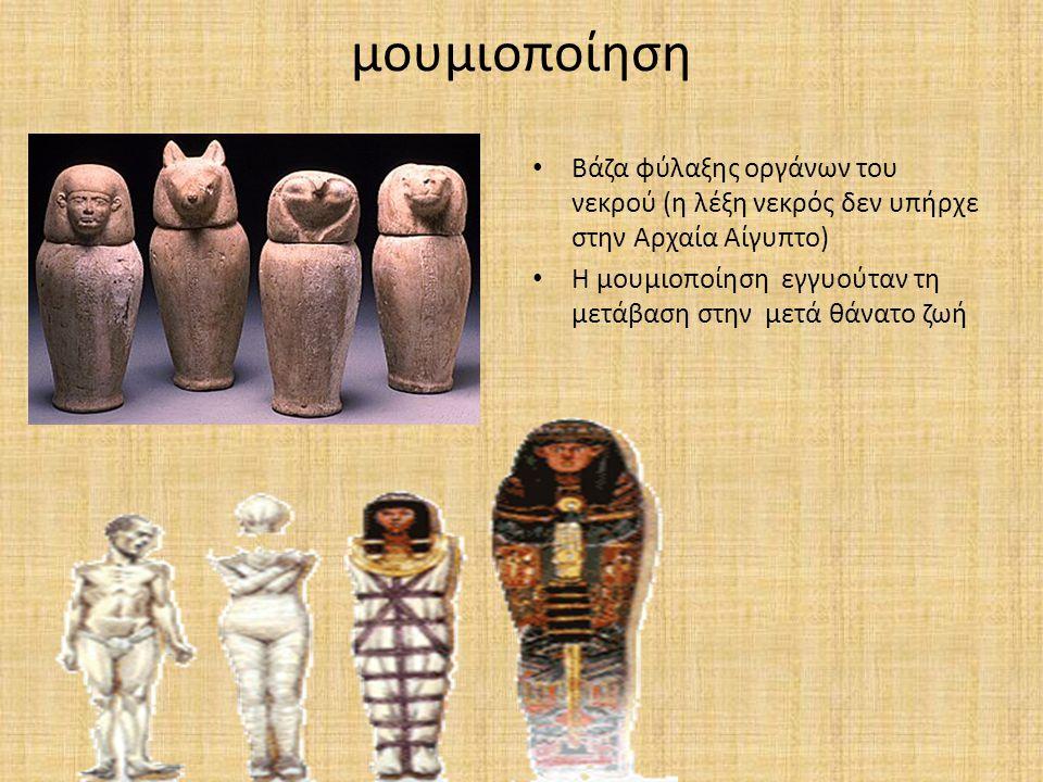 μουμιοποίηση Βάζα φύλαξης οργάνων του νεκρού (η λέξη νεκρός δεν υπήρχε στην Αρχαία Αίγυπτο) Η μουμιοποίηση εγγυούταν τη μετάβαση στην μετά θάνατο ζωή