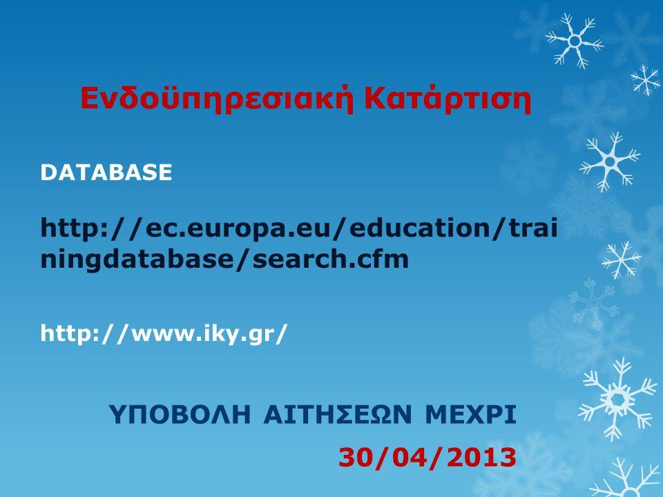 Ενδοϋπηρεσιακή Κατάρτιση ΥΠΟΒΟΛΗ ΑΙΤΗΣΕΩΝ ΜΕΧΡΙ 30/04/2013 DATABASE http://ec.europa.eu/education/trai ningdatabase/search.cfm http://www.iky.gr/