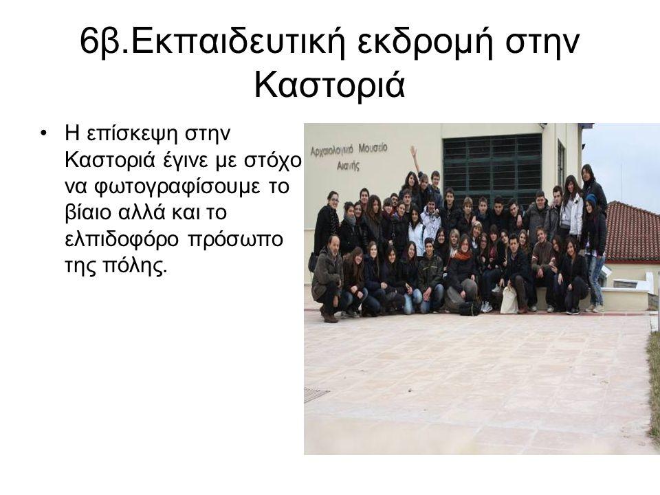 6β.Εκπαιδευτική εκδρομή στην Καστοριά Η επίσκεψη στην Καστοριά έγινε με στόχο να φωτογραφίσουμε το βίαιο αλλά και το ελπιδοφόρο πρόσωπο της πόλης.