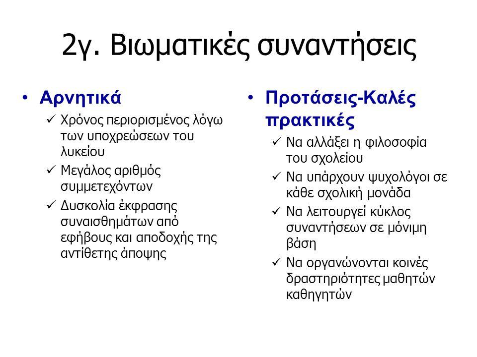 2 γ. Βιωματικές συναντήσεις Αρνητικά Χρόνος περιορισμένος λόγω των υποχρεώσεων του λυκείου Μεγάλος αριθμός συμμετεχόντων Δυσκολία έκφρασης συναισθημάτ