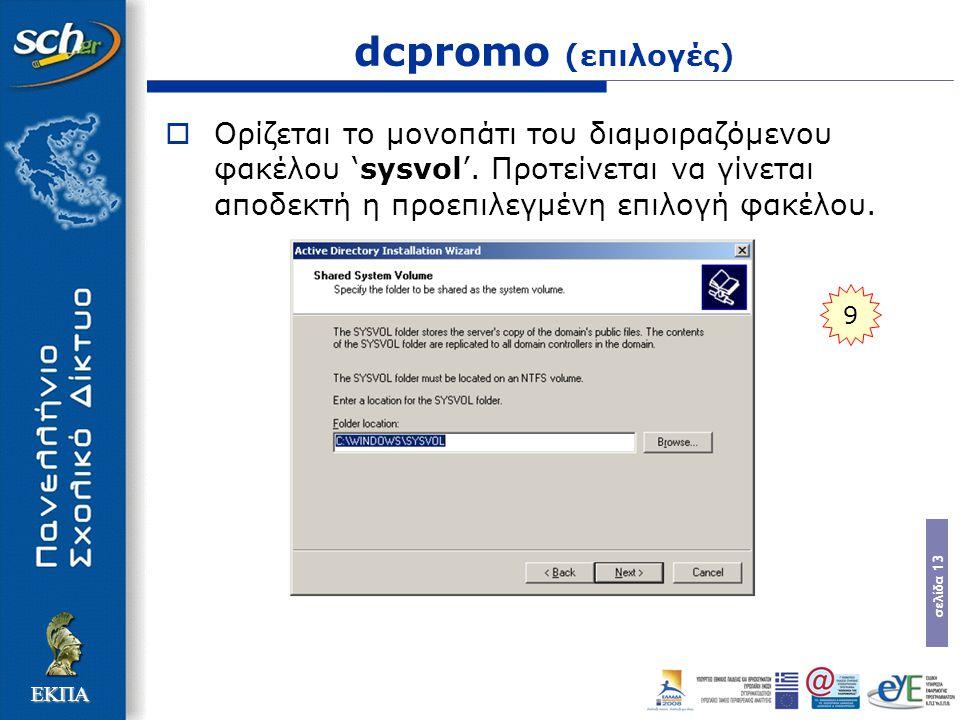 σελίδα 13 ΕΚΠΑ dcpromo (επιλογές)  Ορίζεται το µονοπάτι του διαµοιραζόµενου φακέλου 'sysvol'. Προτείνεται να γίνεται αποδεκτή η προεπιλεγµένη επιλογή